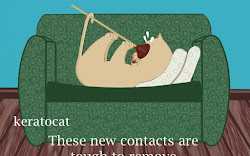 Keratoconus Cartoon: Keratocat, Removing the Contact Lens