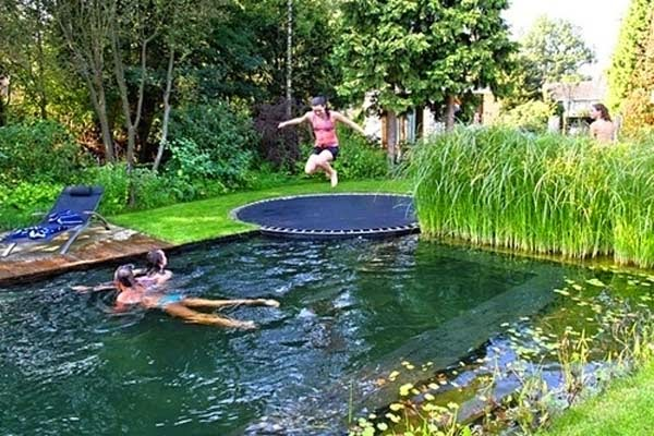 14.) Use a trampoline instead of a diving board in a pool. - These 29 Do-It-Yourself Backyard Ideas For Summer Are Totally Awesome. Definitely Doing #10!