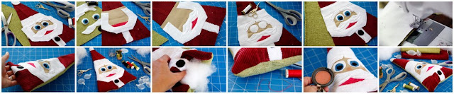 Step-by-step making a Christmas dog toy shaped like Santa with stuffing and squeakers