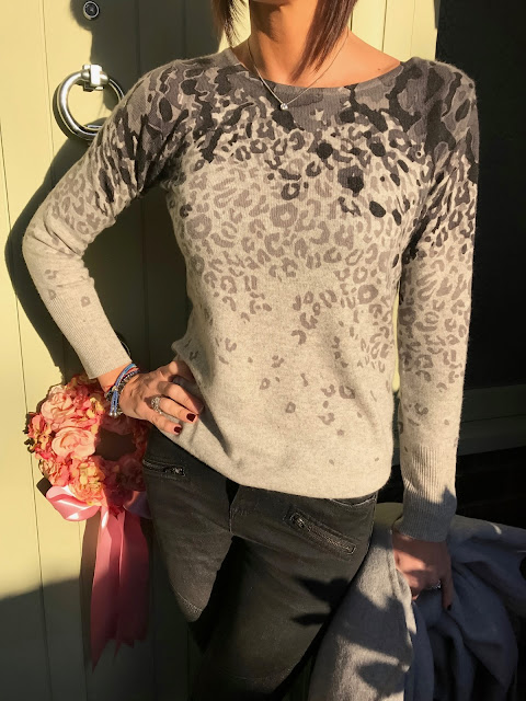 My Midlife Fashion, cosy cashmere womens printed leopard wide neck jumper, hush thornton ankle boots, hush harley jeans, laura ashley wool wrap coat