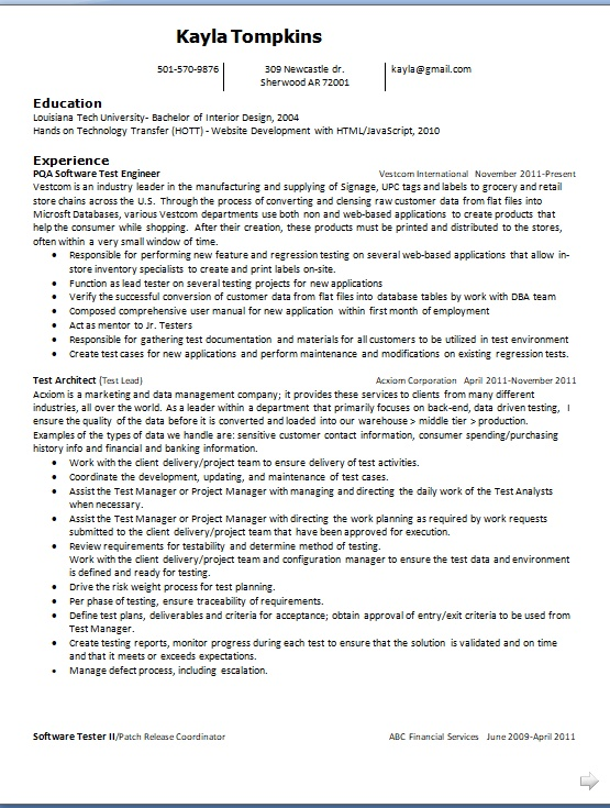 pqa software test enginee sample resume format in word