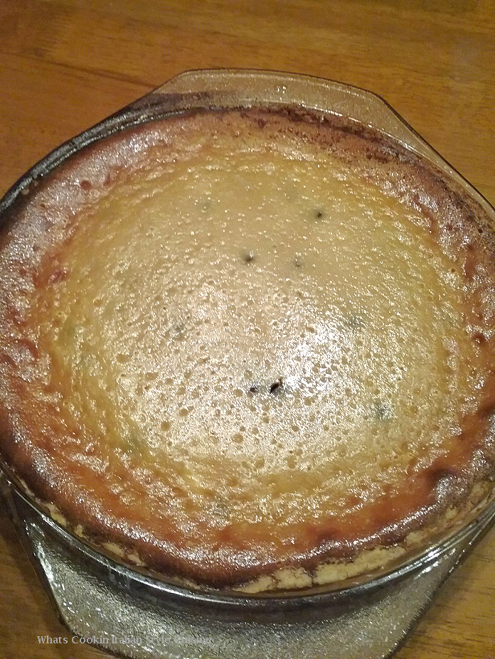 this is a baked cannoli pie cooling from the oven