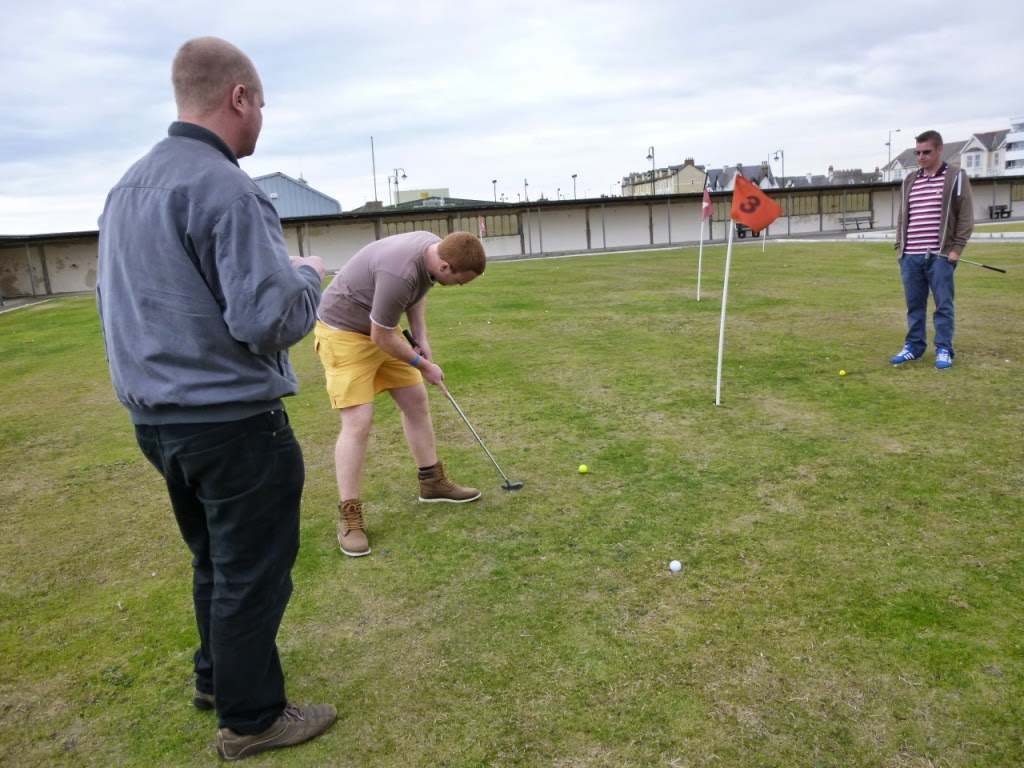 Mini Golf Putting at East Parade Bowling Club in Rhyl, Wales