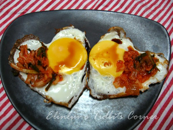Elinluv's Tidbits Corner: Fried Eggs With Kimchi