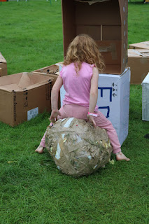 This our tape ball, so big that you could sit on it. It just goes to show that from waste things you can still make play things!
