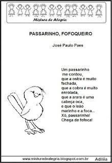 Poesia passarinho fofoqueiro