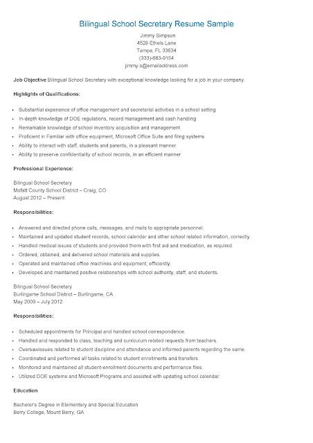 sample resume for secretary - Sample Business Resumes