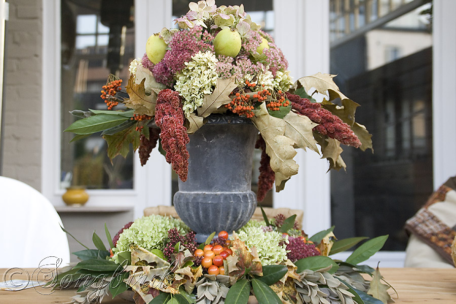 Beautiful Centerpiece As Fall Decoration On Outdoor Table