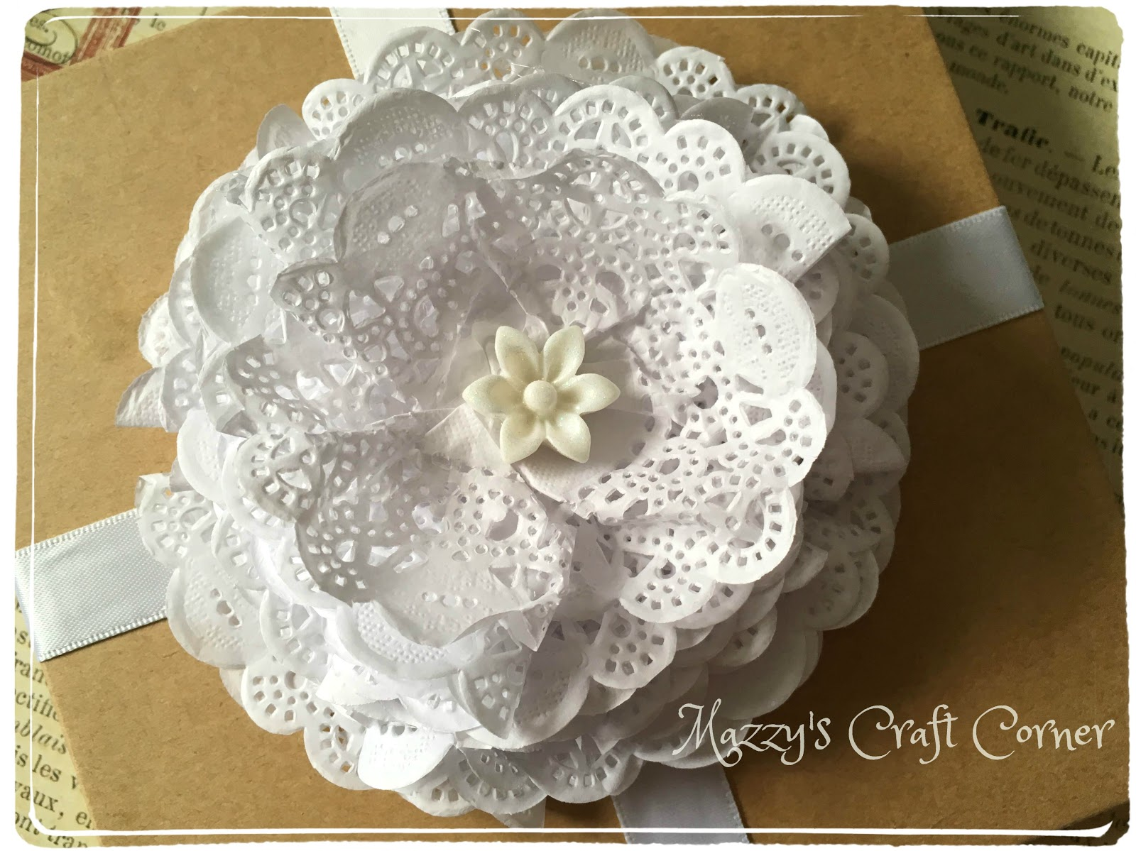 Mazzys craft corner how to make a paper doily flower so here is another of my ideas a shabby chick flower mightylinksfo