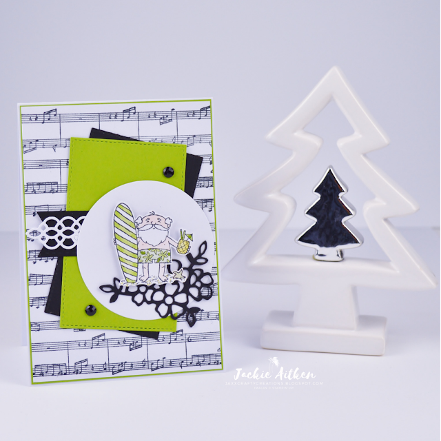 Stampin' Up!, Sheet Music Background Stamp, So Santa, Christmas Card, Surfing Santa, made by Jaxx Crafty Creations