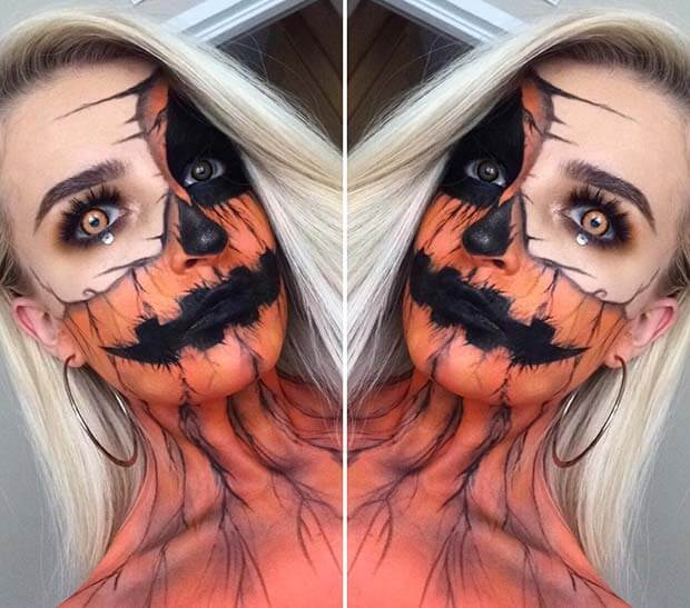 Pumpkins are a traditional Halloween decor and Halloween cannot be complete without Pumpk ✘ 20+ Creative DIY Pumpkin Halloween Makeup Styles In 2020