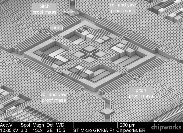 Estrutura microscópica de um giroscópio MEMS