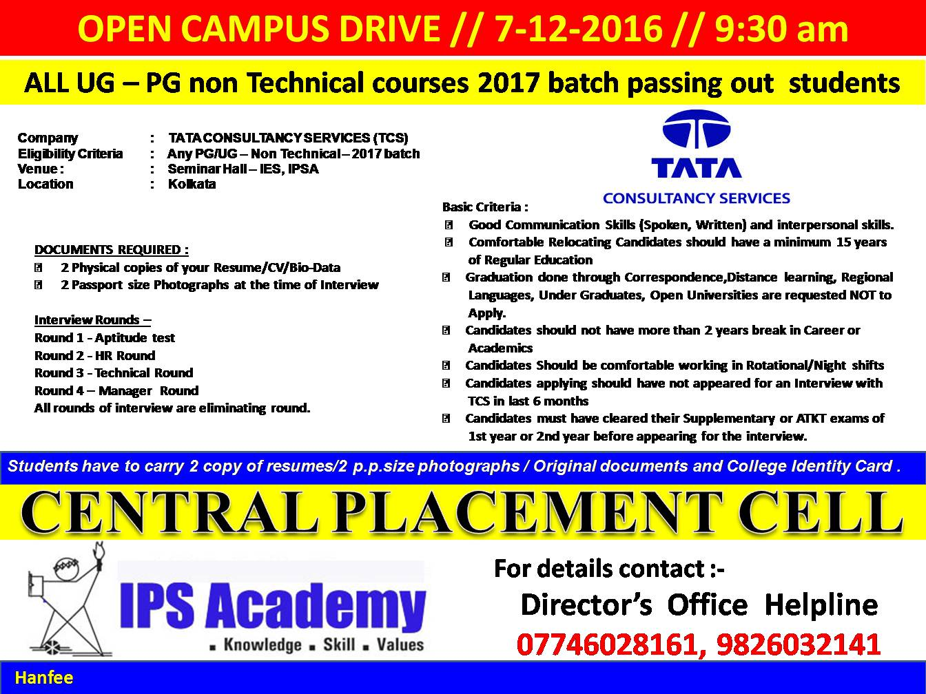 Central Placement Cell: TCS all UG - PG non Technical courses 2017