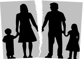 Silhouette picture of a family divorce.