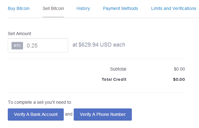 Selling bitcoins on coinbase