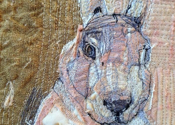 mrs bertimus the hare stitched art.