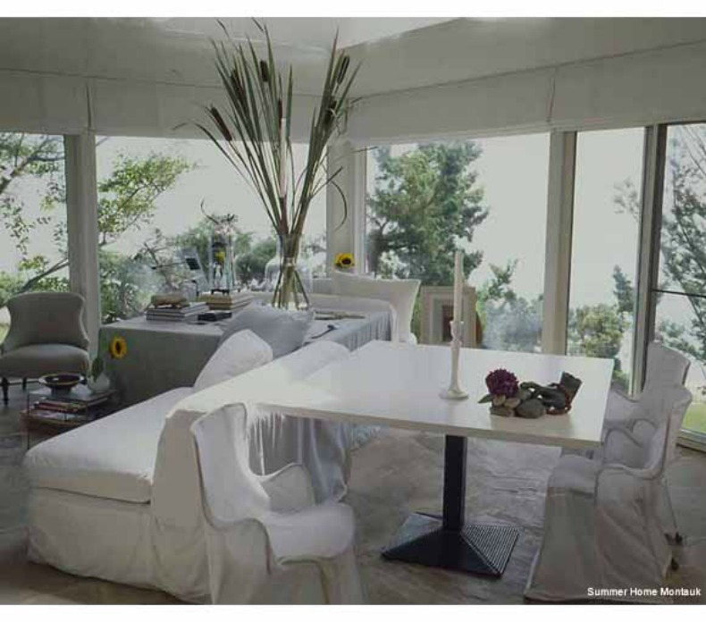 White slipcover sofa and chairs,Montauk Summer House.