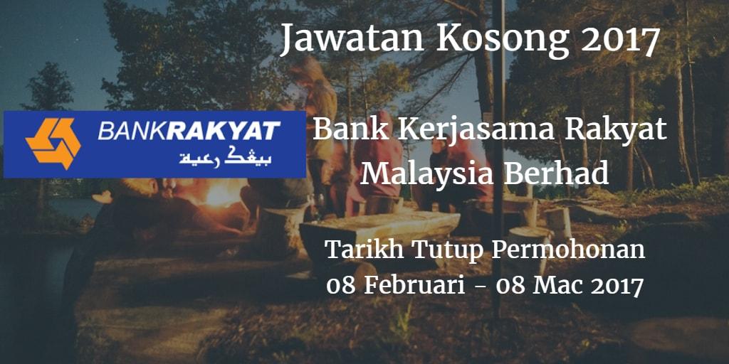 Jawatan Kosong Bank Rakyat 08 Februari - 08 Mac 2017