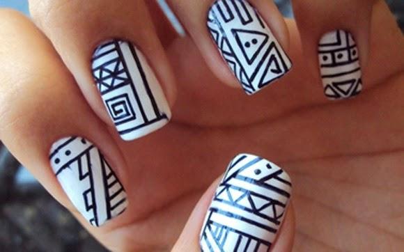 Aprenda a fazer as unhas decoradas com estampa tribal