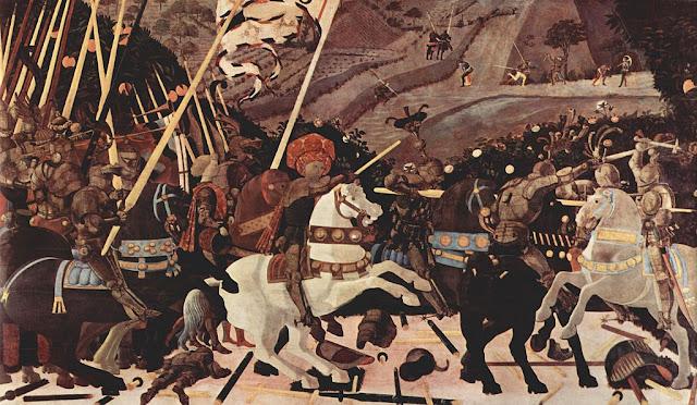 Niccolo Mauruzi da Tolentino à la tête de ses troupes de Paolo Ucello : La bataille de San Romano National Gallery Londres