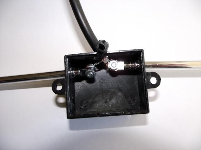 Detalhe da antena Dipolo DIY