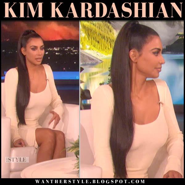 Kim Kardashian in cream fitted dress jean paul gaultier celebrity style november 21