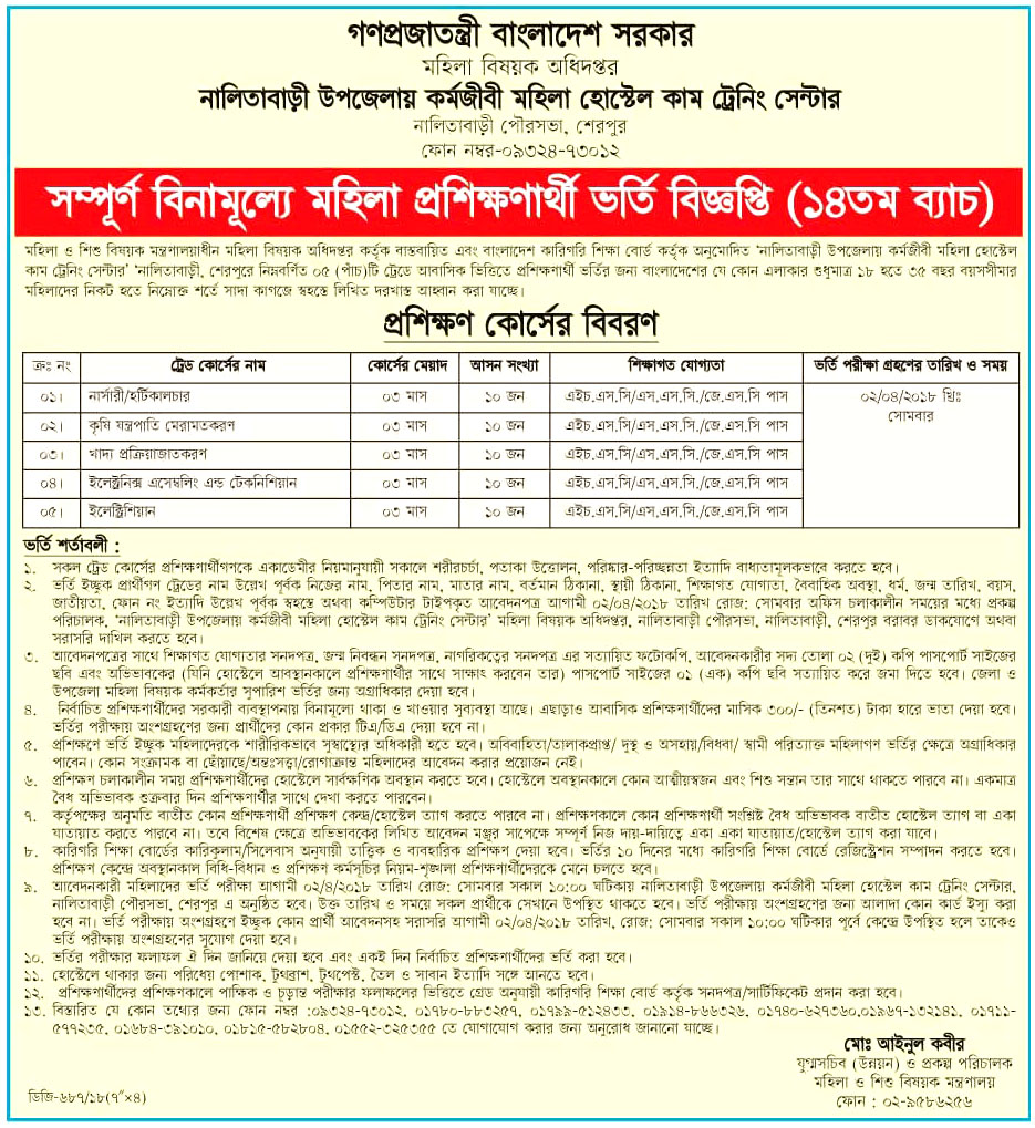 Women and Children Affairs Training Admission Notice 2018