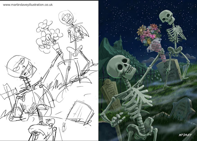 finished art vs sketch M P davey horror skeletons