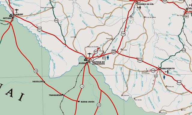 Mapa de acessos a Santana do Livramento e Rivera
