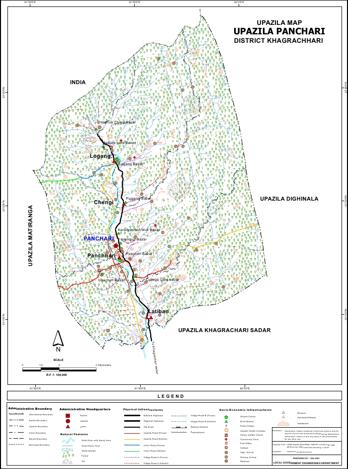 Panchari Upazila Map Khagrachari District Bangladesh