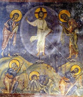 τοιχογραφία του 12ου αι. της Μεταμόρφωσης του Χριστού   στον Άγιο Νικόλαο του Κασνίτζη στην Καστοριά (1160-1180)