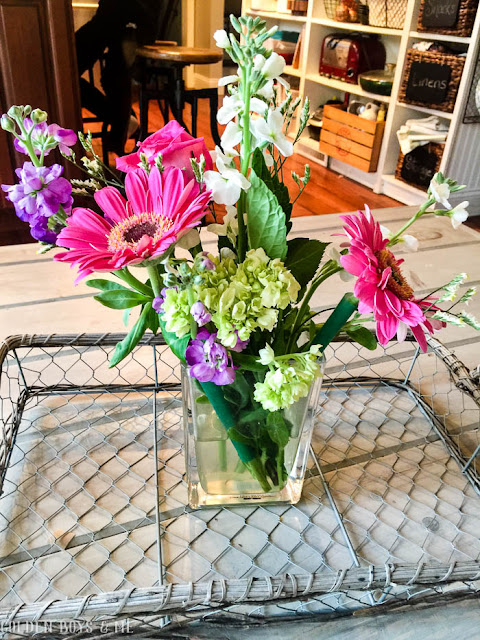 Trader Joe's floral bouquet as spring decor