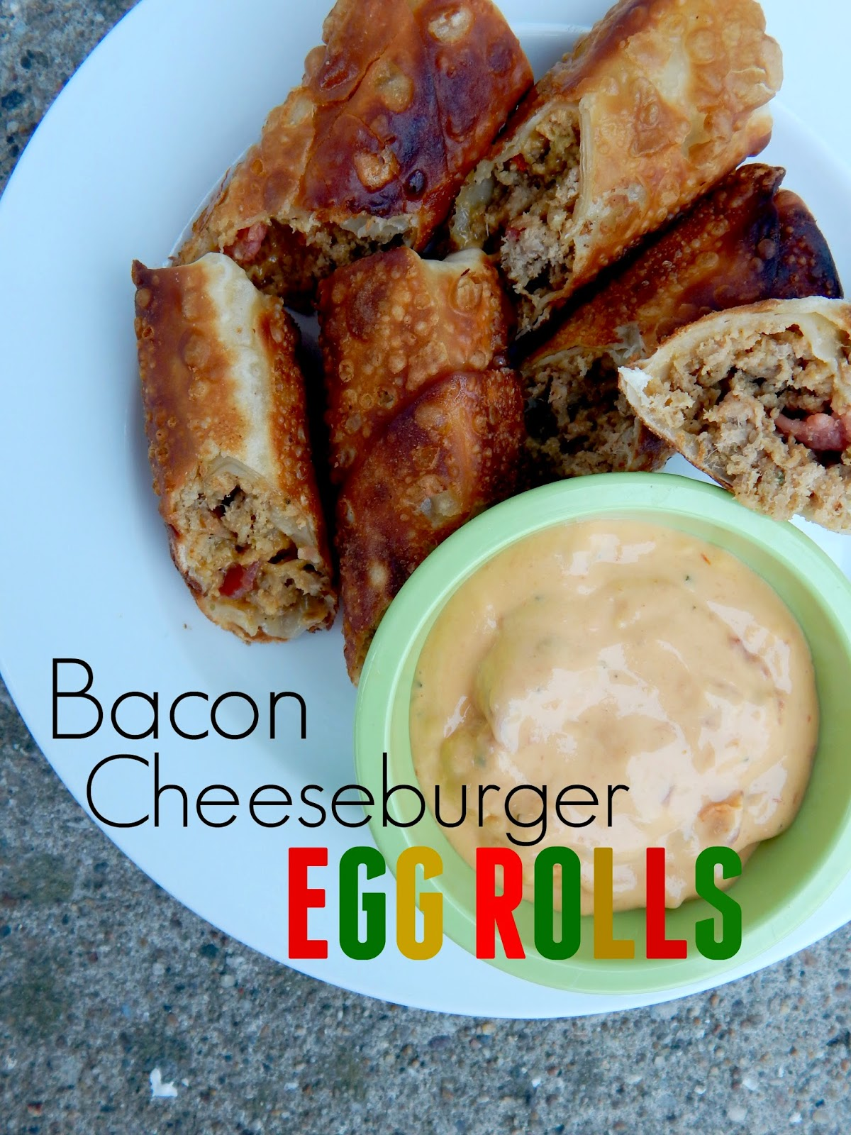 "Bacon Cheeseburger Egg Rolls...this unique appetizer is out of this world!  Dip into your favorite ""burger"" condiments; ketchup, mustard, but nacho cheese sauce is my favorite! (sweetandsavoryfood.com)"