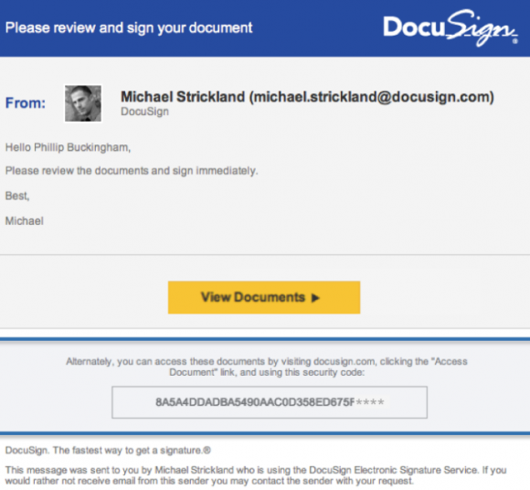 DocuSign phishing email