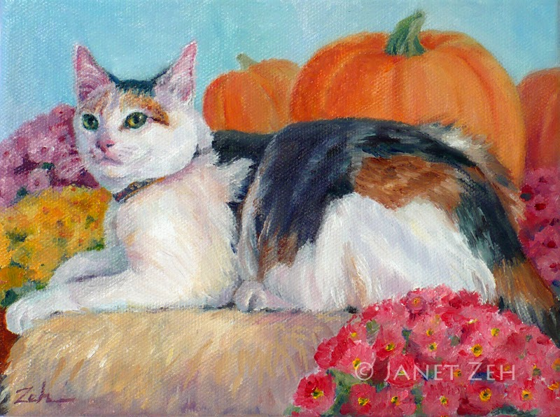 oil painting of a cat named Pumpkin