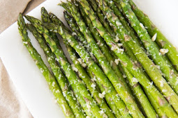 OVEN ROASTED ASPARAGUS WITH GARLIC, PARMESAN, & LEMON