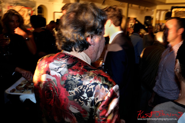 Charles Billich mingles with guests, Billich Gallery 30th anniversary party. Photographed by Kent Johnson.