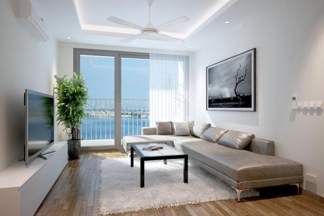 Phòng khách căn hộ diện tích bé tại chung cư Taseco Complex
