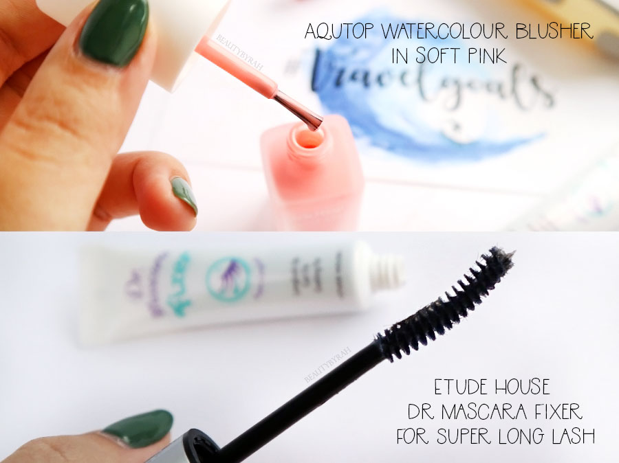 Aqutop Watercolour Blusher Soft Pink review and Etude House Dr Mascara Fixer Review
