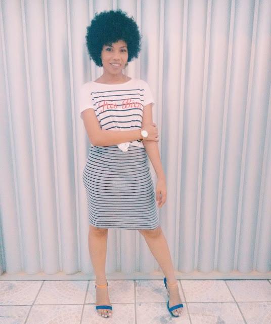 mirelly darlen: look baratinho, saia lápis e blusa básica