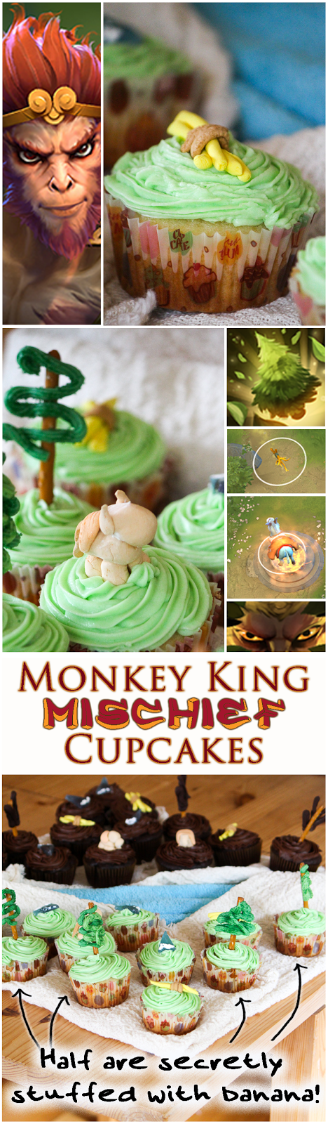 Dota 2 Cupcakes! Monkey King is hiding somewhere... Try figure out which cupcakes are stuffed with banana ganache! Delicious Mischief.