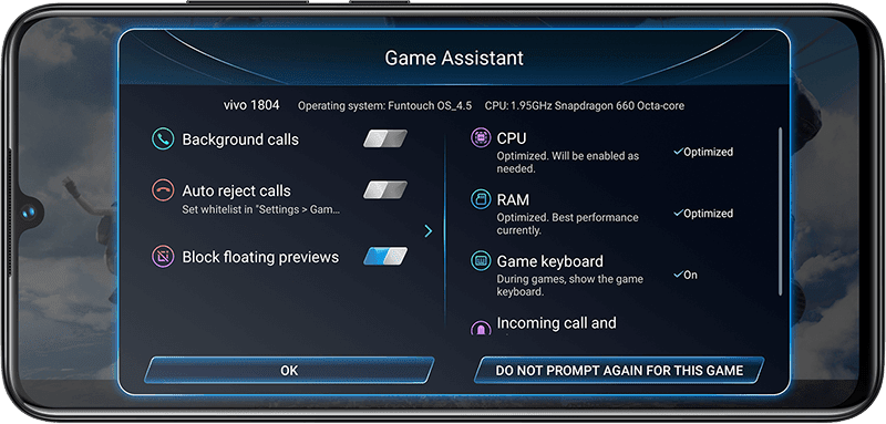 Vivo V11's Game Assistant
