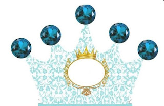 Golden Crown in Light Blue: Free Printable Crown Box.