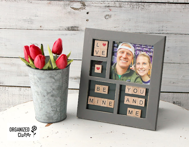 DIY Valentine's Day Collage Frame With Hobby Lobby Faux Scrabble Tiles #HobbyLobby #scrabbletiles #Valentinesday #crafting #dixiebellepaint #frameideas #thriftshopmakeover