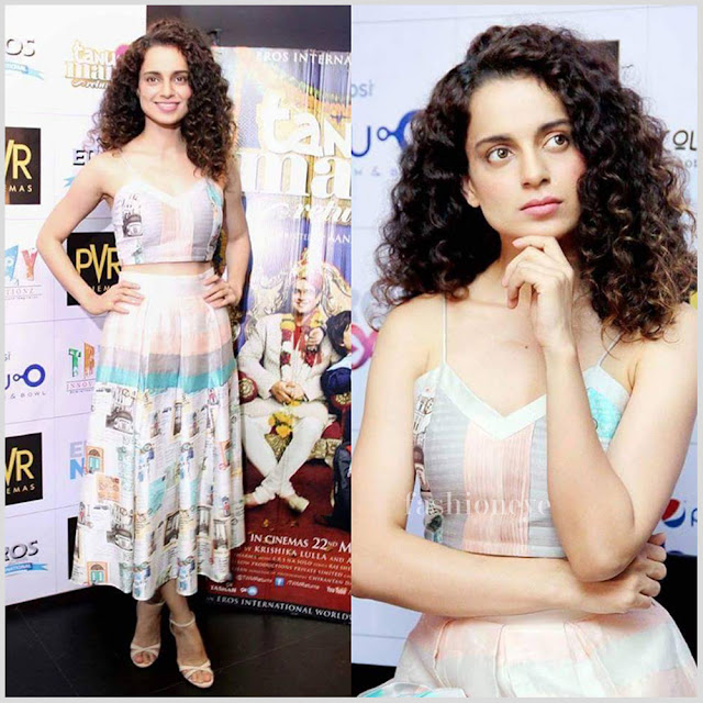 Kangana wearing pastel colored top & skirt