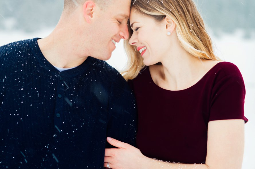 Snowy Winter Engagement Session by Something Minted Photography at Gold Creek Pond