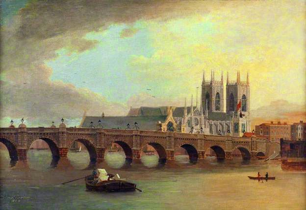 Westminster Bridge and Abbey by Daniel Turner, 1800