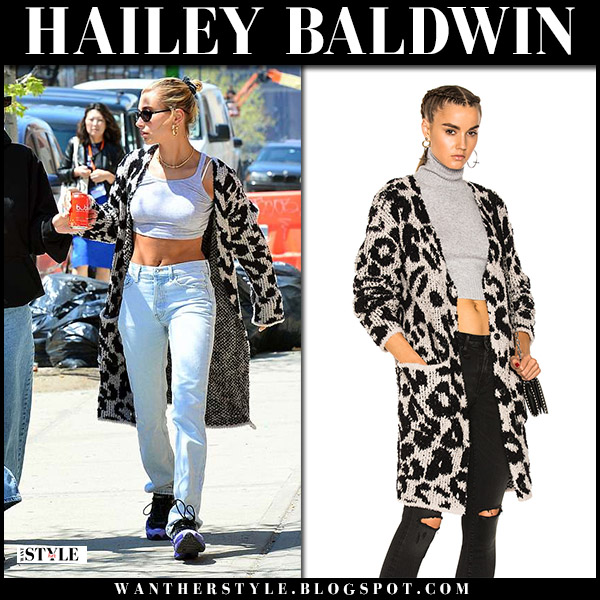 Hailey Baldwin in leopard print cardigan from amiri and jeans model street style may 1