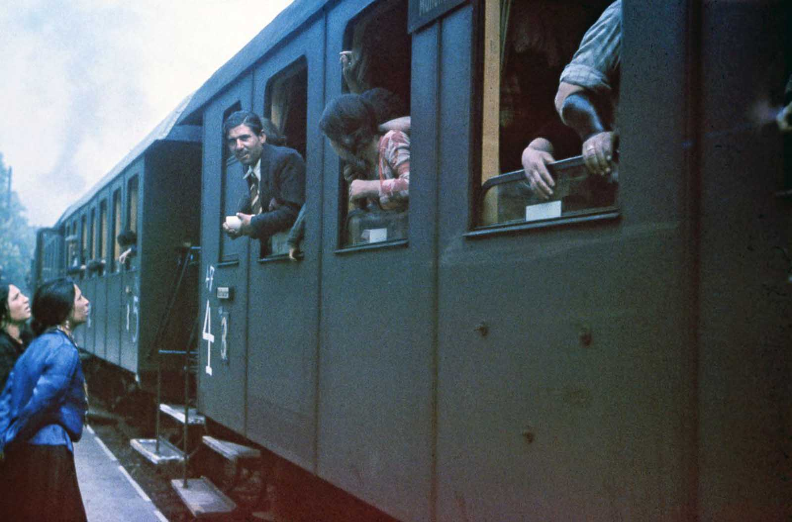 Sinti board the train that will take them to a concentration camp in Poland. May 22, 1940.