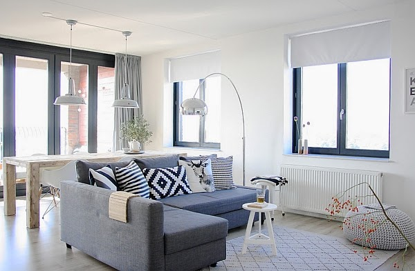 Salas de color blanco y gris salas con estilo for Color gris verdoso paredes